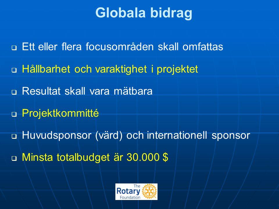 Globala bidrag   Ett eller flera focusområden skall omfattas   Hållbarhet och varaktighet i projektet   Resultat skall vara mätbara   Projektk