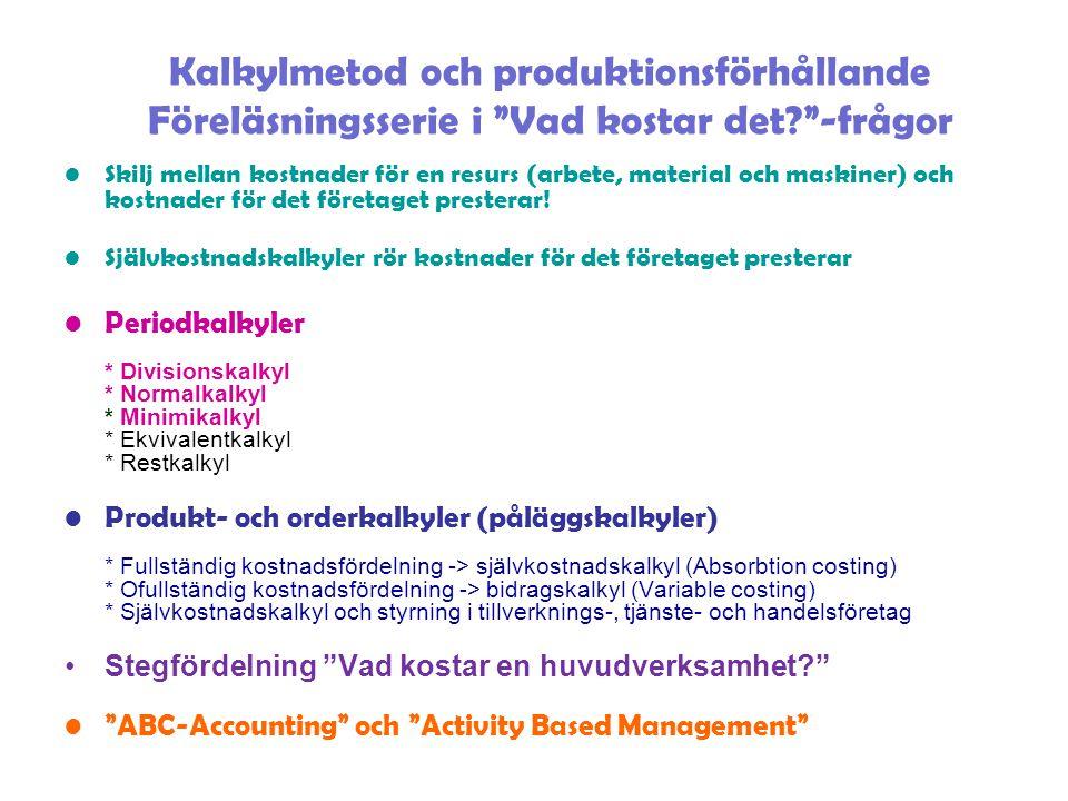 Kalkylmetod och produktionsförhållande Föreläsningsserie i Vad kostar det? -frågor Skilj mellan kostnader för en resurs (arbete, material och maskiner) och kostnader för det företaget presterar.