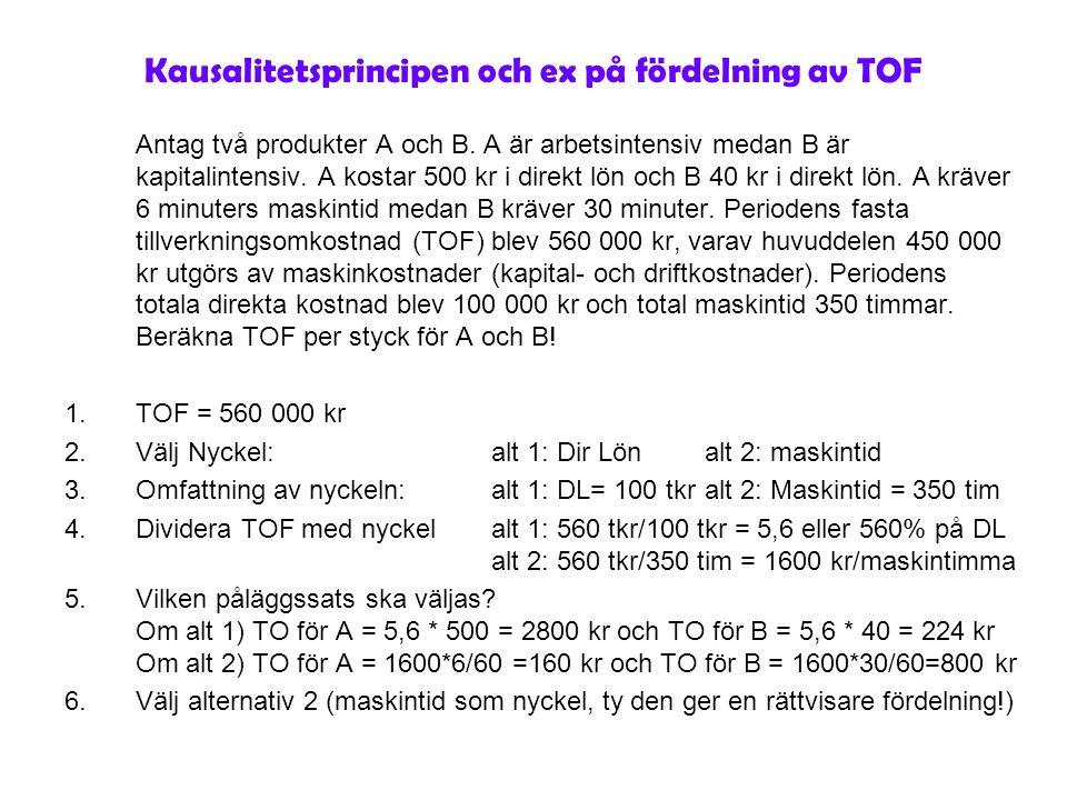 Kausalitetsprincipen och ex på fördelning av TOF Antag två produkter A och B. A är arbetsintensiv medan B är kapitalintensiv. A kostar 500 kr i direkt