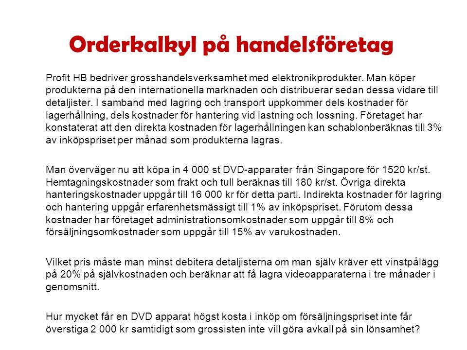 Orderkalkyl på handelsföretag Profit HB bedriver grosshandelsverksamhet med elektronikprodukter.