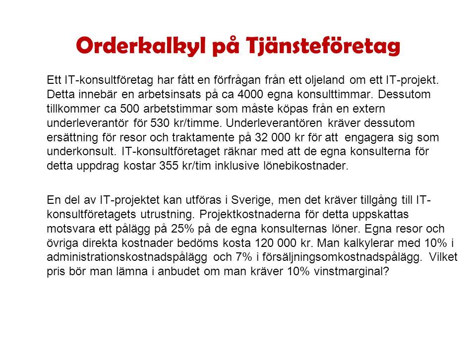 Orderkalkyl på Tjänsteföretag Ett IT-konsultföretag har fått en förfrågan från ett oljeland om ett IT-projekt.