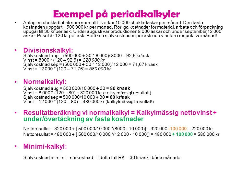 Kalkyltrappa för handelsföretag Inköpspris Varuomkostnader Direkta hanteringskostnader Direkta lagerhållningskostnader Varukostnad Administrations- och försäljningsomkostnad Självkostnad Vinst Försäljningspris Sätt inköpspriset = X [(x+0,01*x+184+0,09*x)*(1+0,23)]*(1+0,2)= 2000 kr => x= 1064,6 kr DVD:n 1520 15,2 184 136,8 1856,0 kr 426,9 2283 457 2739,5 kr