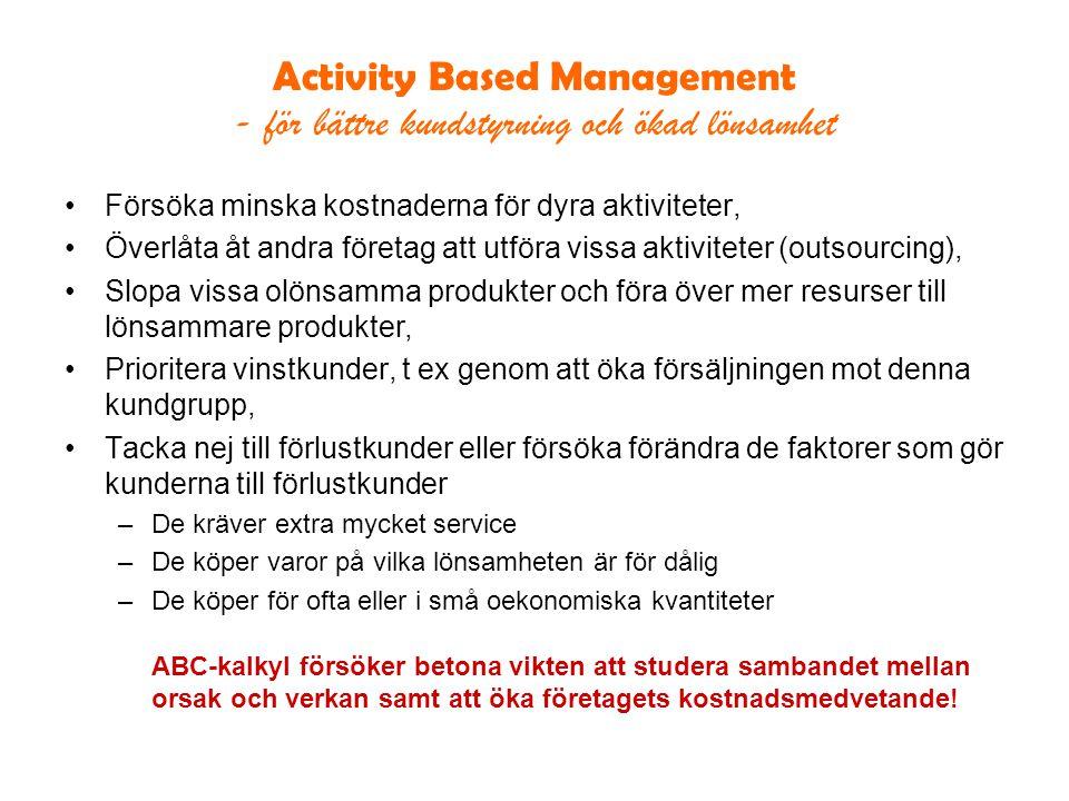 Activity Based Management - för bättre kundstyrning och ökad lönsamhet Försöka minska kostnaderna för dyra aktiviteter, Överlåta åt andra företag att