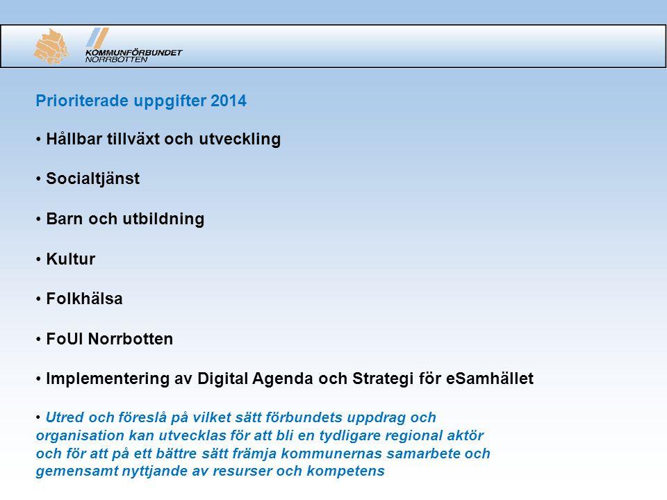 Konkreta stora uppgifter under 2014 Kommunförbundet Norrbotten 2015 Påverka och aktivt delta i genomförandet av EU:s sammanhållningspolitik och Europa 2020 strategin Tillskapandet av en samlad FoUI-enhet och stödja evidensbaserad kunskapsutveckling i de kommunala verksamheterna Åstadkomma verkstad inom ramen för e-utvecklingen (bredband, mobiltelefoni, e-tjänster, eHälsa)