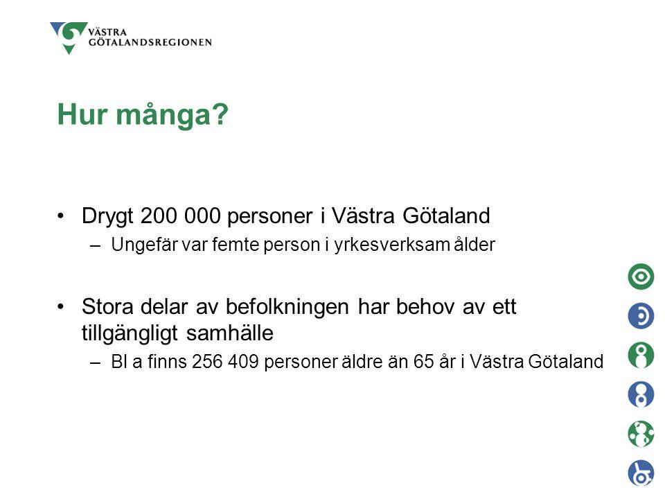 Hur många? Drygt 200 000 personer i Västra Götaland –Ungefär var femte person i yrkesverksam ålder Stora delar av befolkningen har behov av ett tillgä