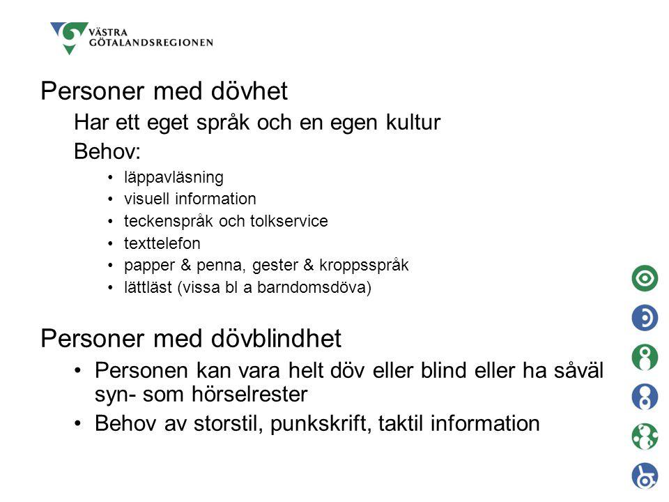 Personer med dövhet Har ett eget språk och en egen kultur Behov: läppavläsning visuell information teckenspråk och tolkservice texttelefon papper & pe