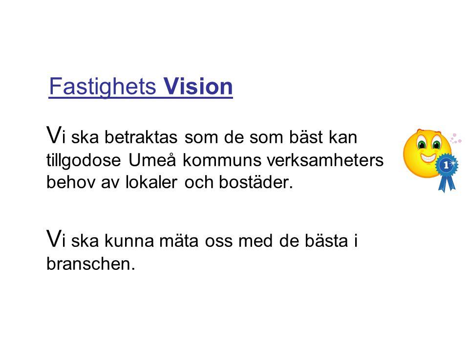 Fastighets Vision V i ska betraktas som de som bäst kan tillgodose Umeå kommuns verksamheters behov av lokaler och bostäder. V i ska kunna mäta oss me