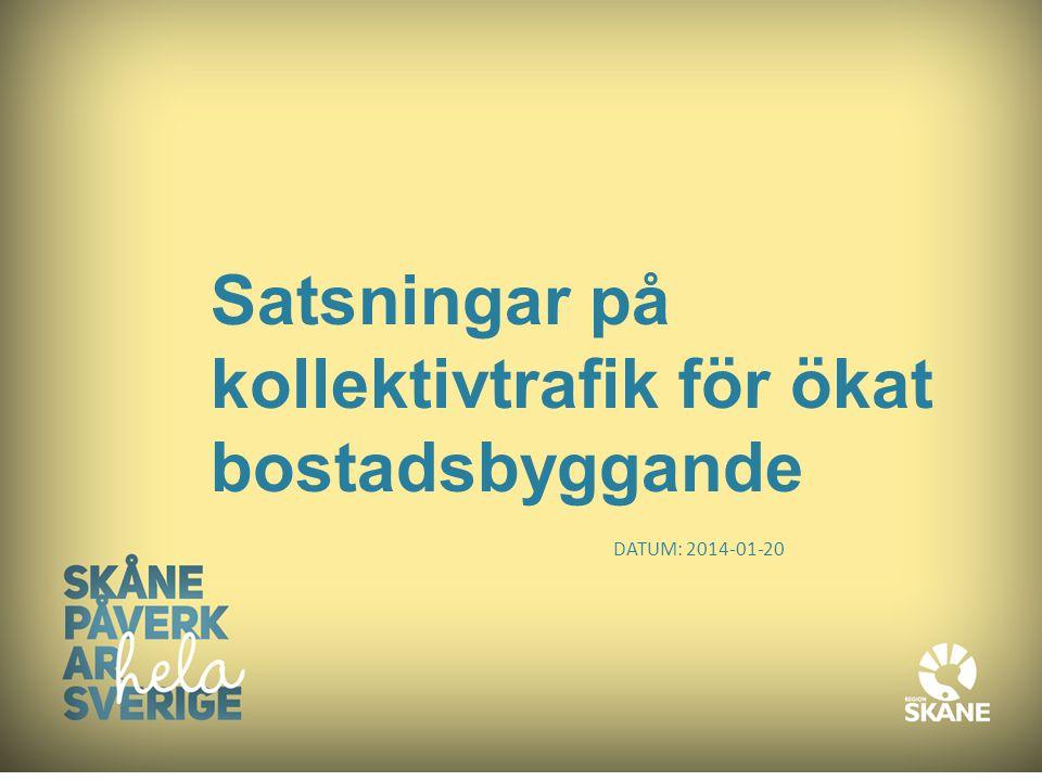 Skåne – en växande flerkärning storstadsregion Skåne beräknas växa med cirka 10 000 nya invånare per år, vilket ställer krav på cirka 5000 nya bostäder/år.