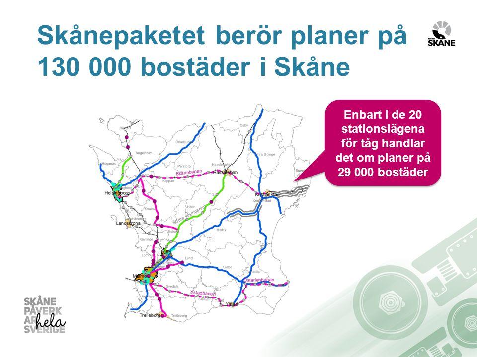 Skånepaketet berör planer på 130 000 bostäder i Skåne Enbart i de 20 stationslägena för tåg handlar det om planer på 29 000 bostäder