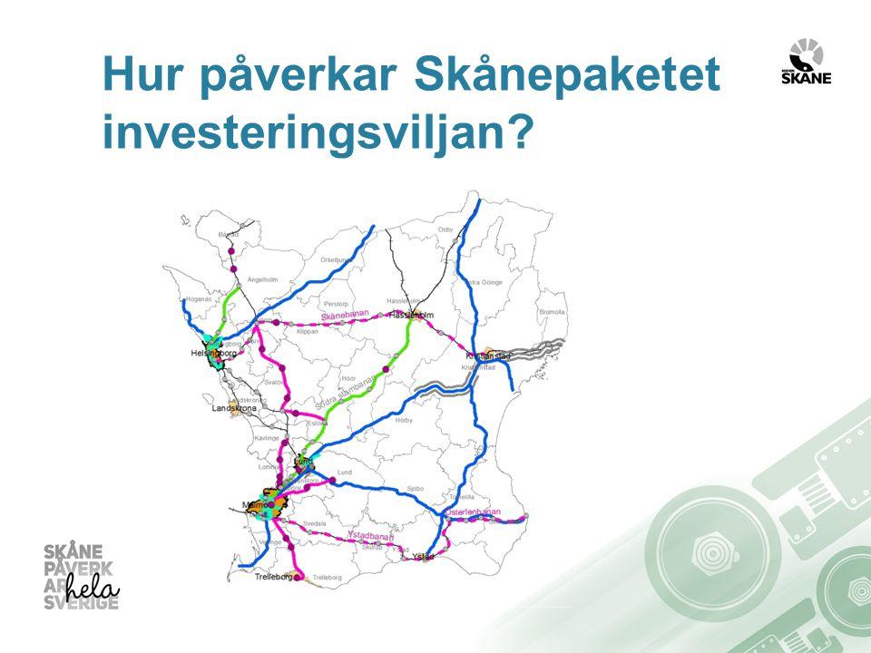 Förbättrad kapacitet i stomlinjer Västkustbanan Södra stambanan Upprustning av stationer i Lund, Hässleholm, Eslöv och Burlöv Möjlighet till 21 000 nya bostäder