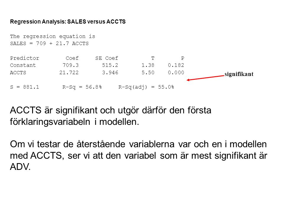 Regression Analysis: SALES versus ACCTS The regression equation is SALES = 709 + 21.7 ACCTS Predictor Coef SE Coef T P Constant 709.3 515.2 1.38 0.182