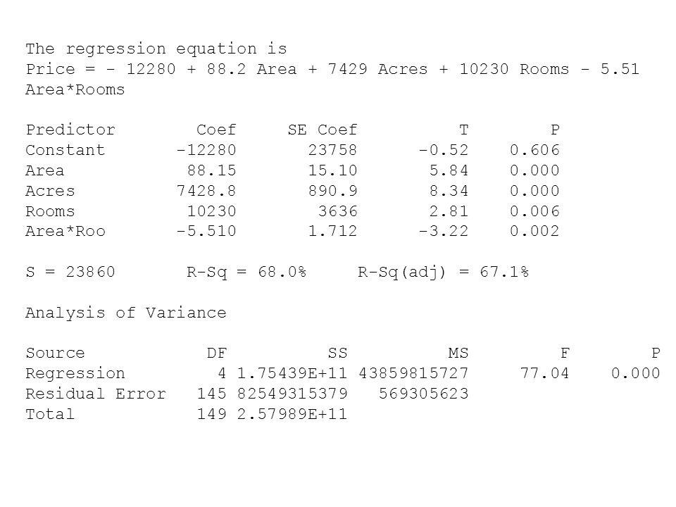 Den reducerade modellen Analysis of Variance Source DF SS MS F P Regression 4 1.75439E+11 43859815727 77.04 0.000 Residual Error 145 82549315379 569305623 Total 149 2.57989E+11 Den kompletta modellen Analysis of Variance Source DF SS MS F P Regression 6 1.83020E+11 30503276149 58.18 0.000 Residual Error 143 74968921395 524258192 Total 149 2.57989E+11