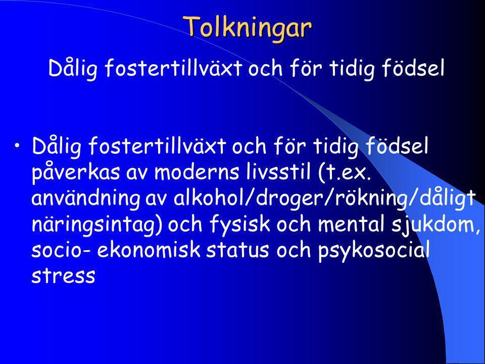 Tolkningar Dålig fostertillväxt och för tidig födsel Dålig fostertillväxt och för tidig födsel påverkas av moderns livsstil (t.ex.