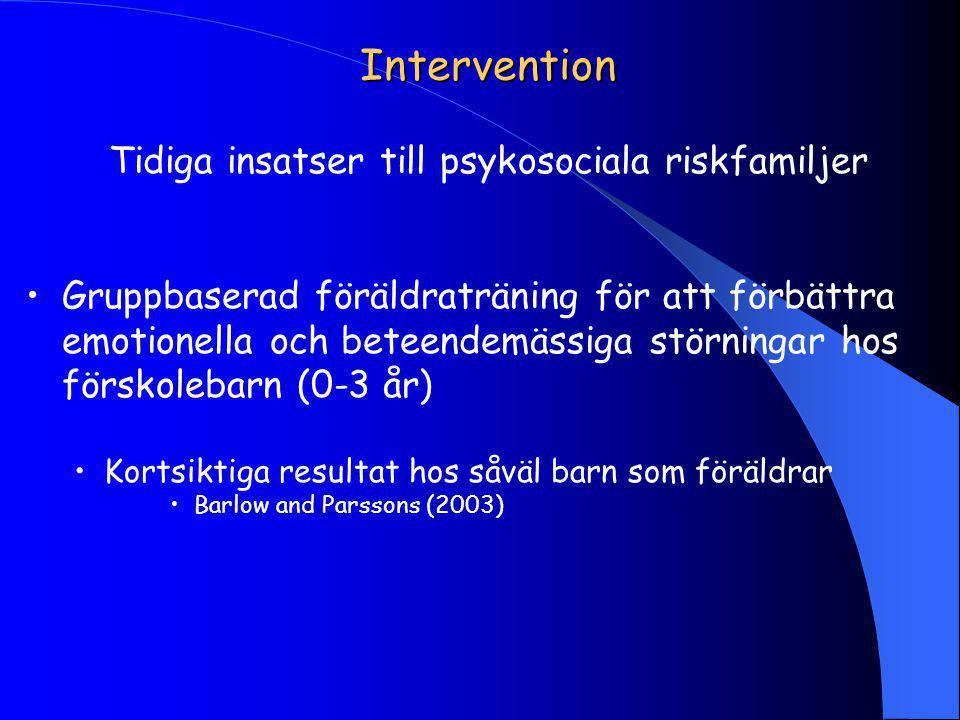 Intervention Tidiga insatser till psykosociala riskfamiljer Gruppbaserad föräldraträning för att förbättra emotionella och beteendemässiga störningar hos förskolebarn (0-3 år) Kortsiktiga resultat hos såväl barn som föräldrar Barlow and Parssons (2003)
