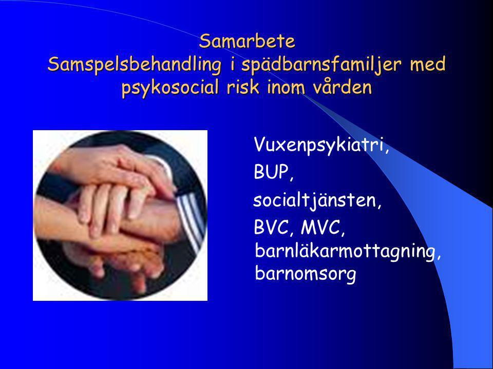 Samarbete Samspelsbehandling i spädbarnsfamiljer med psykosocial risk inom vården Vuxenpsykiatri, BUP, socialtjänsten, BVC, MVC, barnläkarmottagning, barnomsorg