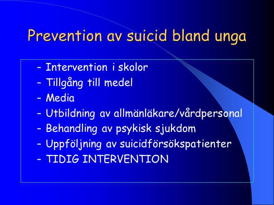 Prevention av suicid bland unga – Intervention i skolor – Tillgång till medel – Media – Utbildning av allmänläkare/vårdpersonal – Behandling av psykisk sjukdom – Uppföljning av suicidförsökspatienter – TIDIG INTERVENTION