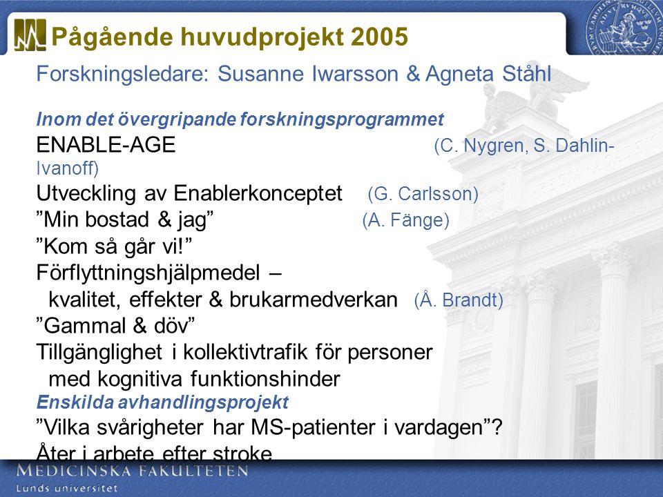 Forskningsledare: Susanne Iwarsson & Agneta Ståhl Inom det övergripande forskningsprogrammet ENABLE-AGE (C. Nygren, S. Dahlin- Ivanoff) Utveckling av