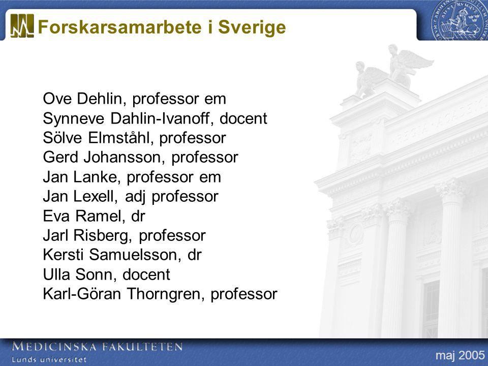 maj 2005 Ove Dehlin, professor em Synneve Dahlin-Ivanoff, docent Sölve Elmståhl, professor Gerd Johansson, professor Jan Lanke, professor em Jan Lexel