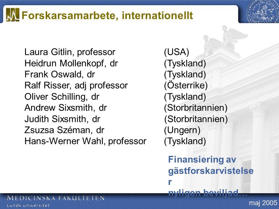 maj 2005 Laura Gitlin, professor(USA) Heidrun Mollenkopf, dr (Tyskland) Frank Oswald, dr(Tyskland) Ralf Risser, adj professor(Österrike) Oliver Schill