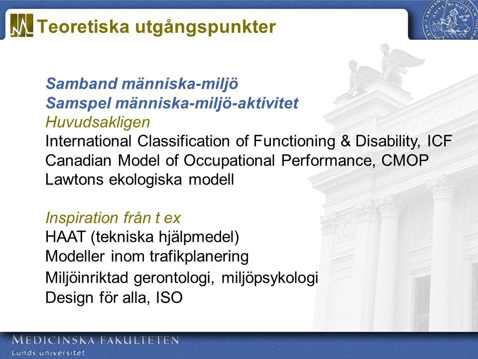 Samband människa-miljö Samspel människa-miljö-aktivitet Huvudsakligen International Classification of Functioning & Disability, ICF Canadian Model of