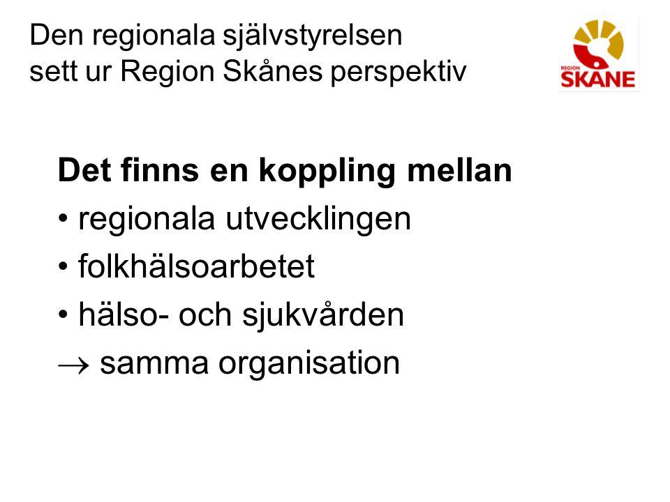 Den regionala självstyrelsen sett ur Region Skånes perspektiv Regional logik Infrastruktur och kommunikationer Näringslivsutveckling inklusive turism Utbildning och forskning Arbetsmarknadspolitik Kultur Miljö Folkhälsa Hälso- och sjukvård Gränsregionalt samarbete
