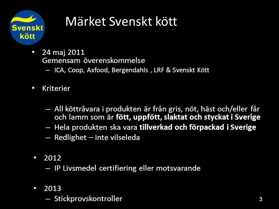 Märket Svenskt kött 3 24 maj 2011 Gemensam överenskommelse – ICA, Coop, Axfood, Bergendahls, LRF & Svenskt Kött Kriterier – All köttråvara i produkten är från gris, nöt, häst och/eller får och lamm som är fött, uppfött, slaktat och styckat i Sverige – Hela produkten ska vara tillverkad och förpackad i Sverige – Redlighet – inte vilseleda 2012 – IP Livsmedel certifiering eller motsvarande 2013 – Stickprovskontroller