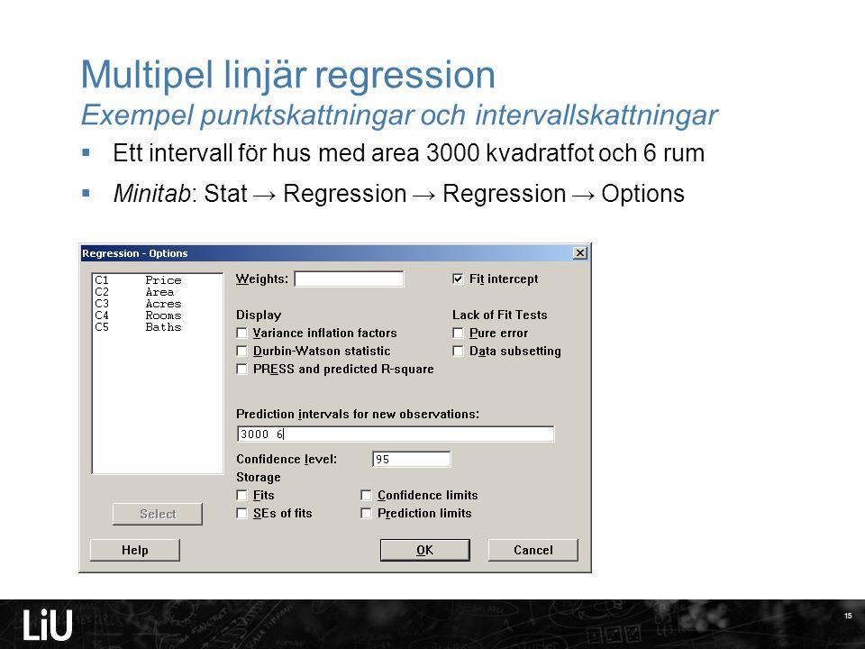 Multipel linjär regression Exempel punktskattningar och intervallskattningar  Ett intervall för hus med area 3000 kvadratfot och 6 rum  Minitab: Stat → Regression → Regression → Options 15