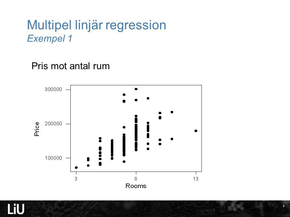 Multipel linjär regression Exempel 1 10 Pris mot antal badrum
