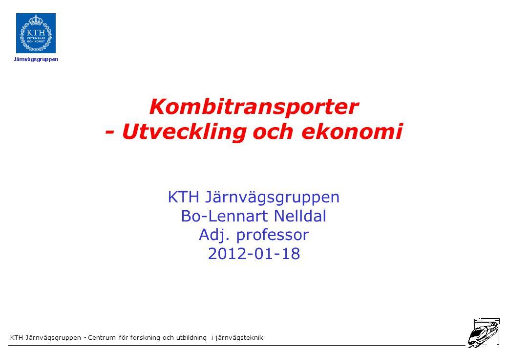 KTH Järnvägsgruppen Centrum för forskning och utbildning i järnvägsteknik Kombitransporter - Utveckling och ekonomi KTH Järnvägsgruppen Bo-Lennart Nelldal Adj.