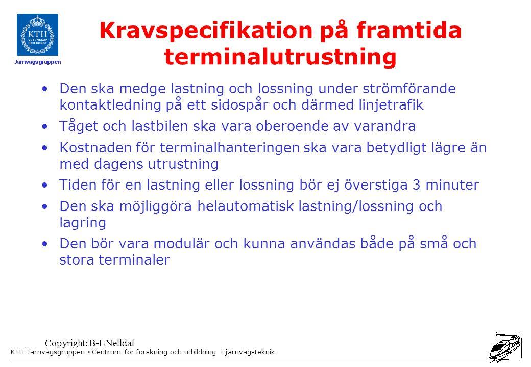 KTH Järnvägsgruppen Centrum för forskning och utbildning i järnvägsteknik Copyright: B-L Nelldal Kravspecifikation på framtida terminalutrustning Den