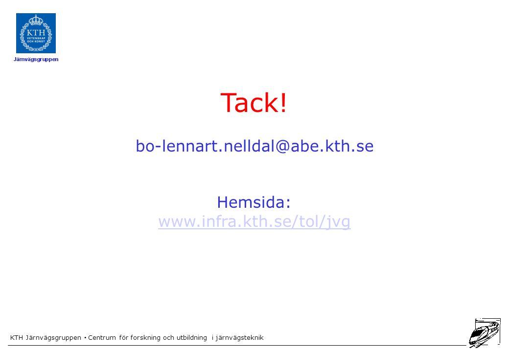 KTH Järnvägsgruppen Centrum för forskning och utbildning i järnvägsteknik Tack! bo-lennart.nelldal@abe.kth.se Hemsida: www.infra.kth.se/tol/jvg