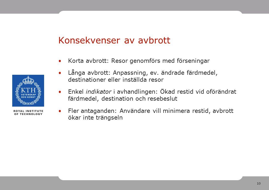 10 Konsekvenser av avbrott Korta avbrott: Resor genomförs med förseningar Långa avbrott: Anpassning, ev.