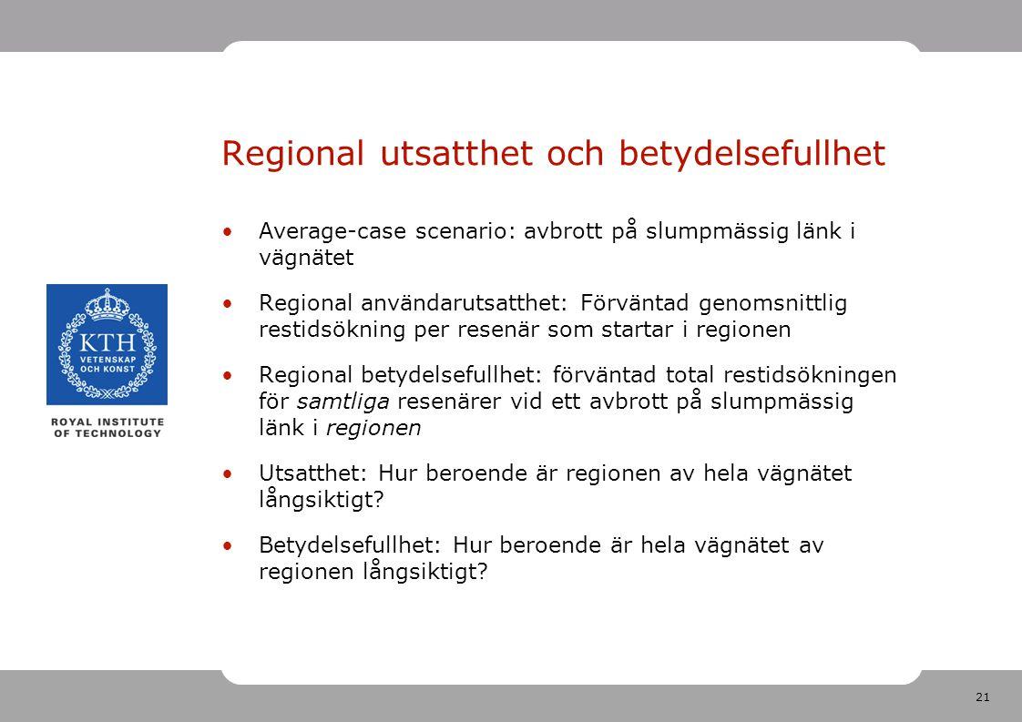 21 Regional utsatthet och betydelsefullhet Average-case scenario: avbrott på slumpmässig länk i vägnätet Regional användarutsatthet: Förväntad genomsnittlig restidsökning per resenär som startar i regionen Regional betydelsefullhet: förväntad total restidsökningen för samtliga resenärer vid ett avbrott på slumpmässig länk i regionen Utsatthet: Hur beroende är regionen av hela vägnätet långsiktigt.