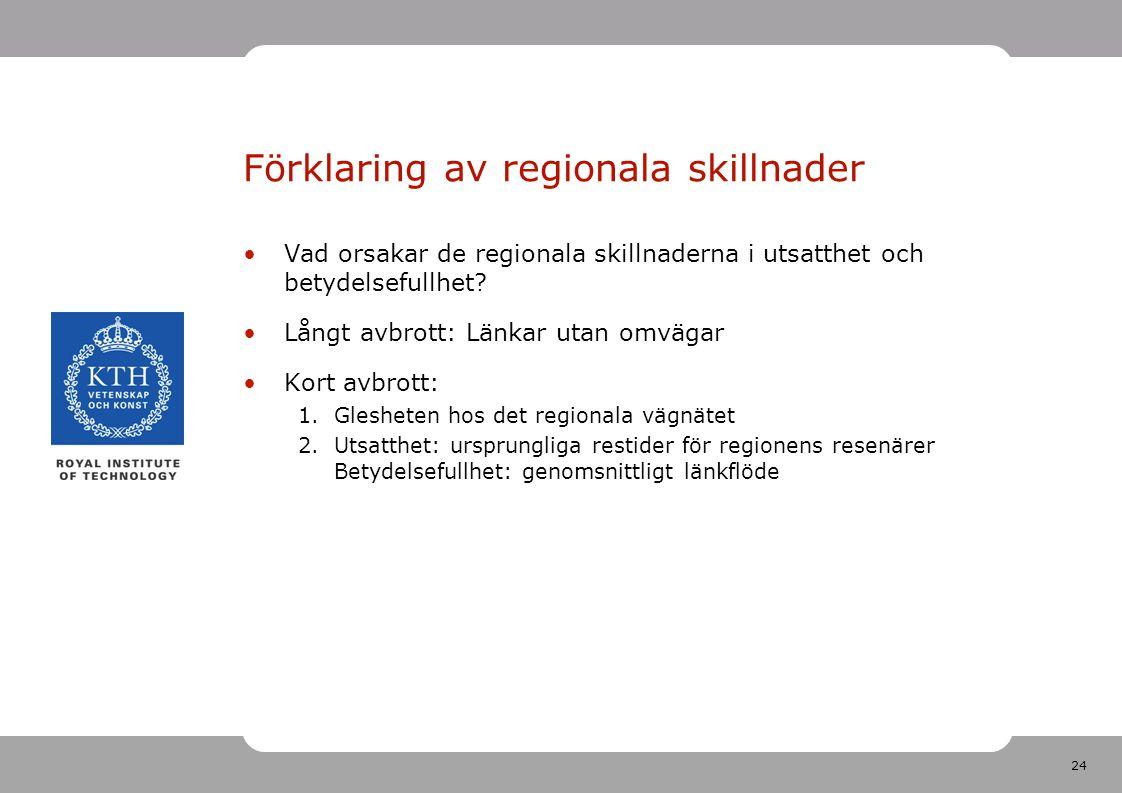 24 Förklaring av regionala skillnader Vad orsakar de regionala skillnaderna i utsatthet och betydelsefullhet.