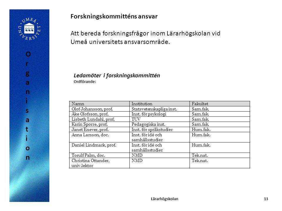 Lärarhögskolan13 Forskningskommitténs ansvar Att bereda forskningsfrågor inom Lärarhögskolan vid Umeå universitets ansvarsområde. NamnInstitutionFakul