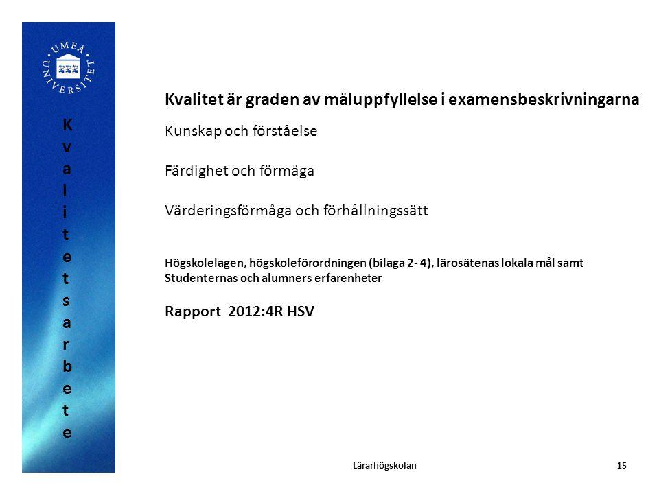 15 Kvalitet är graden av måluppfyllelse i examensbeskrivningarna Kunskap och förståelse Färdighet och förmåga Värderingsförmåga och förhållningssätt H