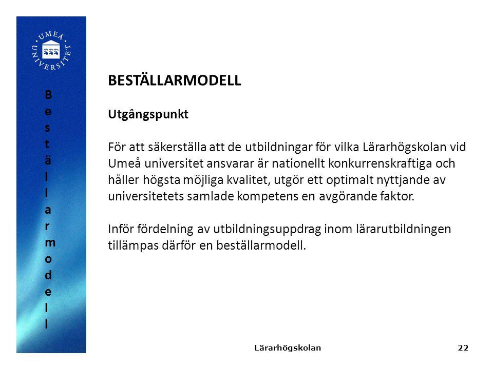 22 BESTÄLLARMODELL Utgångspunkt För att säkerställa att de utbildningar för vilka Lärarhögskolan vid Umeå universitet ansvarar är nationellt konkurren