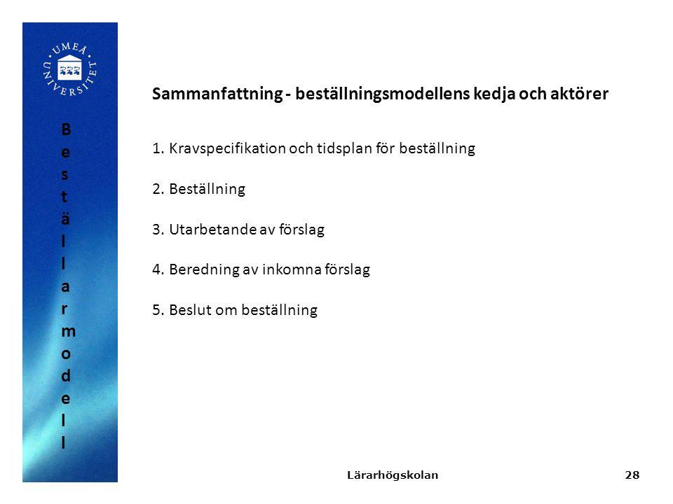 28 Sammanfattning - beställningsmodellens kedja och aktörer 1.Kravspecifikation och tidsplan för beställning 2.Beställning 3.Utarbetande av förslag 4.
