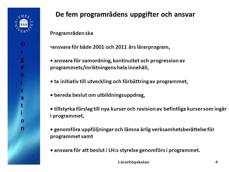 4 Programråden ska ansvara för både 2001 och 2011 års lärarprogram, ansvara för samordning, kontinuitet och progression av programmets/inriktningens h