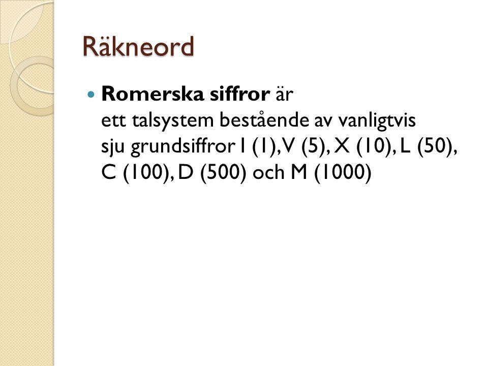 Räkneord Romerska siffror är ett talsystem bestående av vanligtvis sju grundsiffror I (1), V (5), X (10), L (50), C (100), D (500) och M (1000)