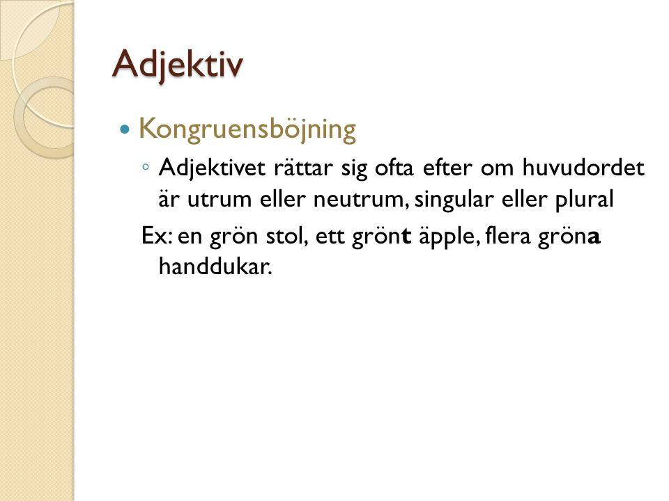 Adverb Beskriver ett adjektiv, verb eller annat adverb.
