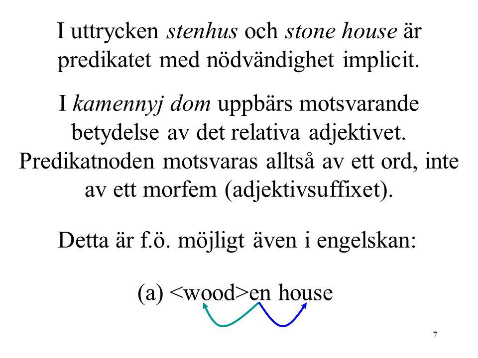 7 I uttrycken stenhus och stone house är predikatet med nödvändighet implicit.