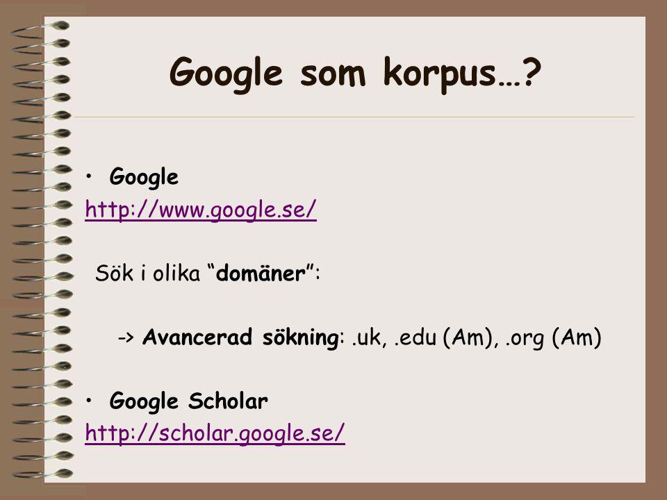 Google som korpus….