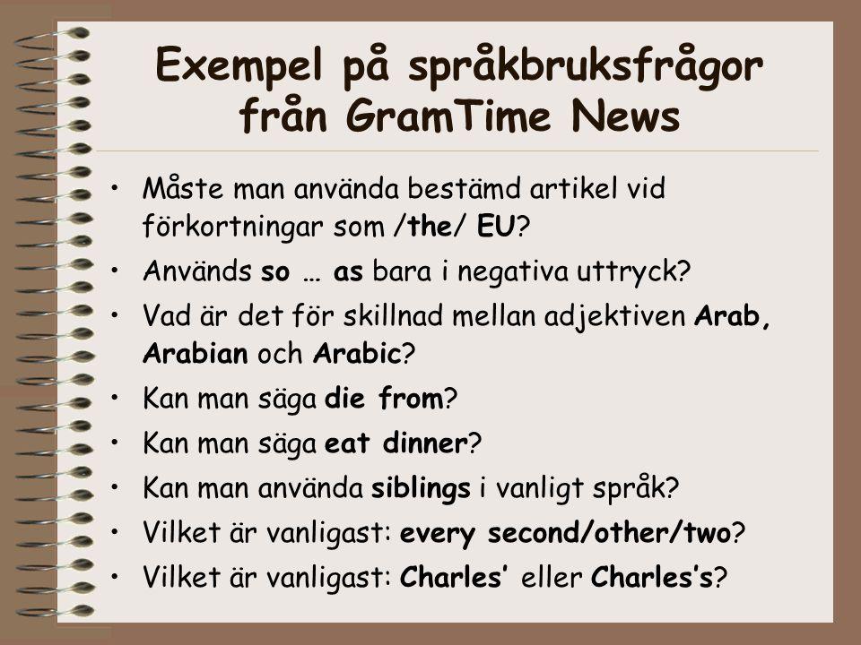 Exempel på språkbruksfrågor från GramTime News Måste man använda bestämd artikel vid förkortningar som /the/ EU.