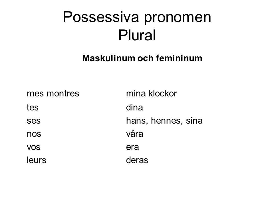 Possessiva pronomen Plural Maskulinum och femininum mes montresmina klockor tesdina seshans, hennes, sina nosvåra vosera leursderas