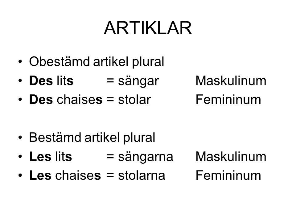 ARTIKLAR Obestämd artikel plural Des lits= sängarMaskulinum Des chaises= stolarFemininum Bestämd artikel plural Les lits= sängarnaMaskulinum Les chais