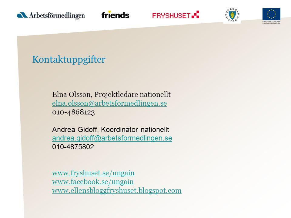 Kontaktuppgifter Elna Olsson, Projektledare nationellt elna.olsson@arbetsformedlingen.se 010-4868123 Andrea Gidoff, Koordinator nationellt andrea.gido