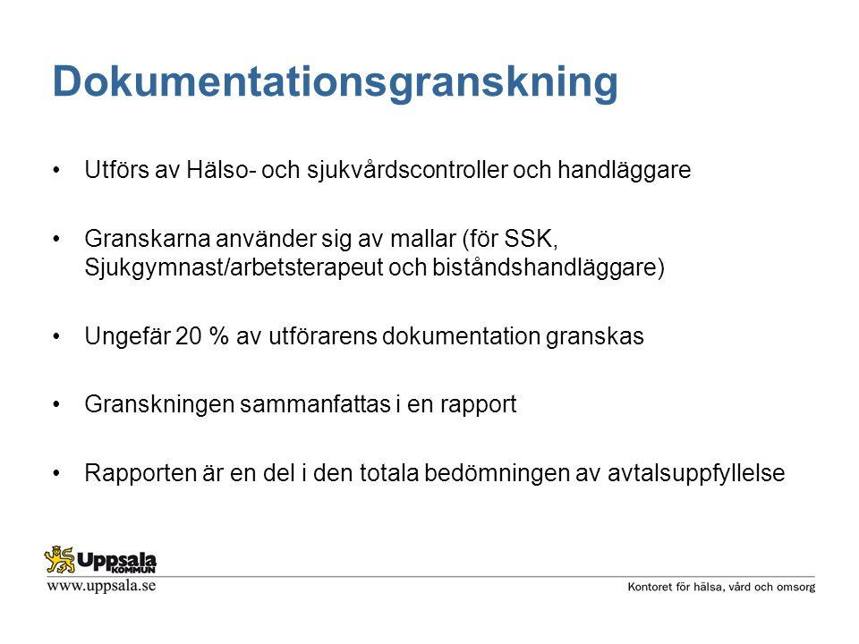 Dokumentationsgranskning Utförs av Hälso- och sjukvårdscontroller och handläggare Granskarna använder sig av mallar (för SSK, Sjukgymnast/arbetsterape