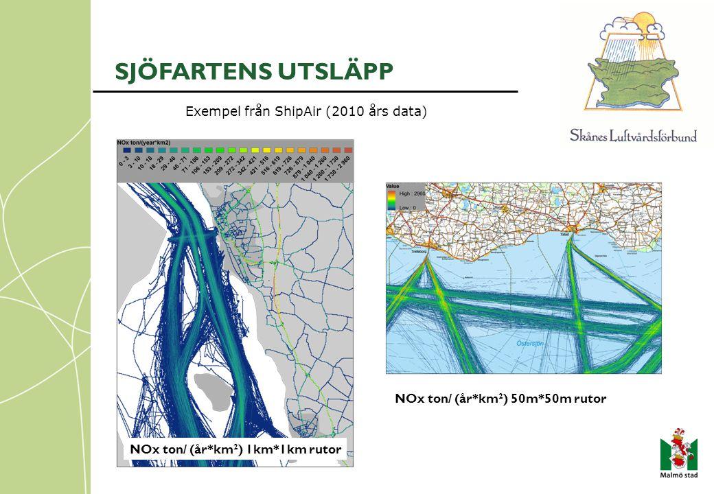 SJÖFARTENS UTSLÄPP Exempel från ShipAir (2010 års data) NOx ton/ (år*km 2 ) 1km*1km rutor NOx ton/ (år*km 2 ) 50m*50m rutor