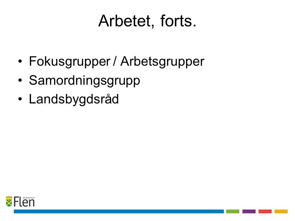 Arbetet, forts. Fokusgrupper / Arbetsgrupper Samordningsgrupp Landsbygdsråd